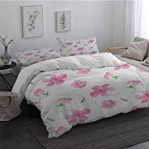 Duvet Cover Set with Zipper Closure 3 Pieces Flower Hibiscus Bloom Flowers on a Plain Background with Floral Patterns in Country Style Twin Size Sheet Set Pink White Twin