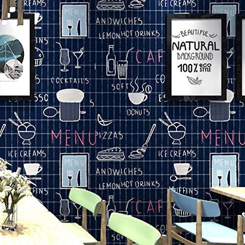 Papel pintado Papel tapiz Patrón de PVC fondo de pantalla azul de la historieta del café del postre como el sabor brotes del té del café del restaurante Cake Shop Bebida fría tienda de postres tienda