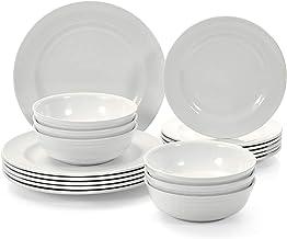طقم أواني طعام تي بي فور 6، طقم أطباق ميلامين مع أطباق وأوعية عشاء للسلطة، 18 قطعة من أدوات مائدة الطعام، لون عاجي