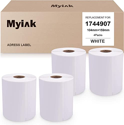 """discount MYIK popular Compatible Label Replacement for Dymo 1744907 Use for White LabelWriter 4XL Large Shipping Label Dymo 4XL 2021 Printers(4.1""""x6.3"""", 104mm x 159mm, 220 Labels/roll, 4 Pack) outlet online sale"""