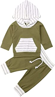 Infant Baby Boys Hooded Outfits Long Sleeve Striped Floral Cotton Hoodie Sweatshirt + Pants Fall Tracksuits