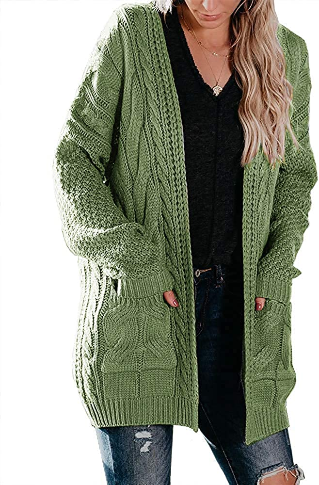 Womens Long Sleeve Cable Knit Cardigans Sweaters Plus Size Oversized Open Front Chunky Fall Outerwear with Pockets