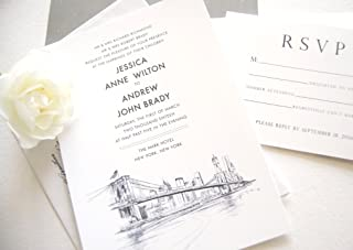 New York City Skyline Wedding Invitations Package (Sold in sets of 10 Invitations, RSVP Cards and Envelopes)