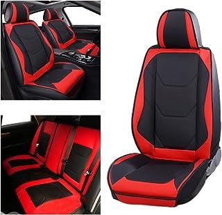 Adust Leather Car Seat Covers Full Set, Universal Cushion 5 Seats Cover for Sedan SUV Hatchback Truck Tacoma Sorento Accor...