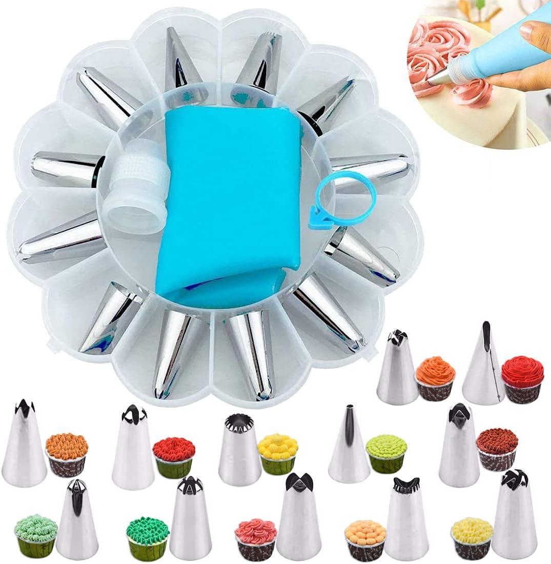 YOUYIKE® Set Decoración de Pasteles 14PCS, Torta: boquillas grandes, acoplador, manga pasteleras de silicona 35 cm