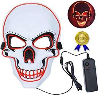 Autbye Halloween LED Light up Mask, Neon Mask Purge for Halloween Costume