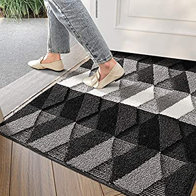 "DEXI Indoor Doormat Front Door Rug, 32""x40"" Absorbent Machine Washable Inside Door Mat, Non Slip Low-Profile Entrance Rug for Entry, Back Door, Blue"