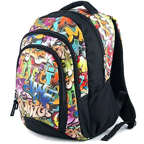 Mochila Escolar Mediana para niños y niñas, Hecha en la UE - Premium - yeepSport S114dx (Graffiti)