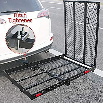 "Hitch Mounted Wheelchair Scooter Carrier With Ramp and Hitch Tightener Hitch Mount Foldable Cargo Rack 50"" L x 28"" W Platform With 42 inch Long Ramp for Most Cars Suv Pickup fits 2inch Receiver"