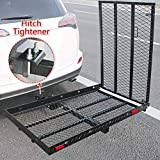 Hitch Mounted Wheelchair Scooter Carrier With Ramp And Hitch Tightener - Hitch Mount Foldable Cargo Rack, 50' L X 28' W Platform With 42' Long Ramp, For Most Cars Suv Pickup Fits 2' Receiver
