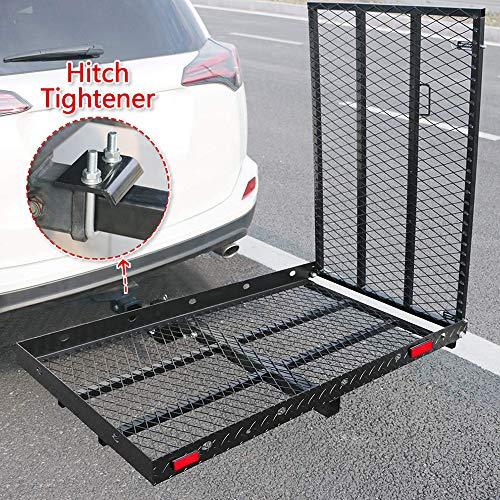 """Hitch Mounted Wheelchair Scooter Carrier With Ramp And Hitch Tightener - Hitch Mount Foldable Cargo Rack, 50"""" L X 28"""" W Platform With 42"""" Long Ramp, For Most Cars Suv Pickup Fits 2"""" Receiver"""