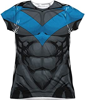 BATMAN Franquicia Nightwing Muscular Blue Uniform Juniors Camiseta con estampado frontal