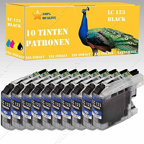 10x Cartucho de tinta compatible con LC121/LC123Black Brother DCP Serie de DCP J 132W/DCP-J 150/DCP-J 152WR de/DCP J 152W