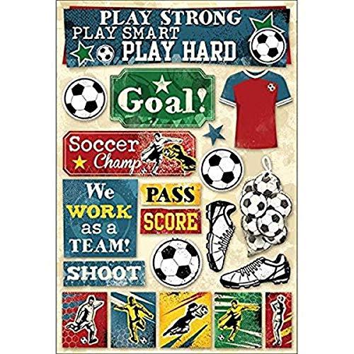 KAREN FOSTER 11588 Design Acid and Lignin Free Scrapbooking Sticker Sheet, Soccer Goal