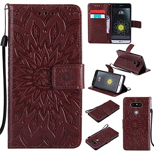 Kelman Phone Cases for LG G5 (5.3') Case Cover 3D Sun Flower Fashion PU Leather,Card Slot,Built Stand,Magnetic Closure,Wallet Function - [Brown]