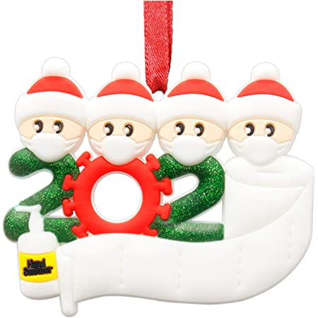 3 People GUOJOZO 2020 Personalized Christmas Ornament Kit with Toilet Paper Family Name Decorating Set,Creative Friends Gift Ornaments