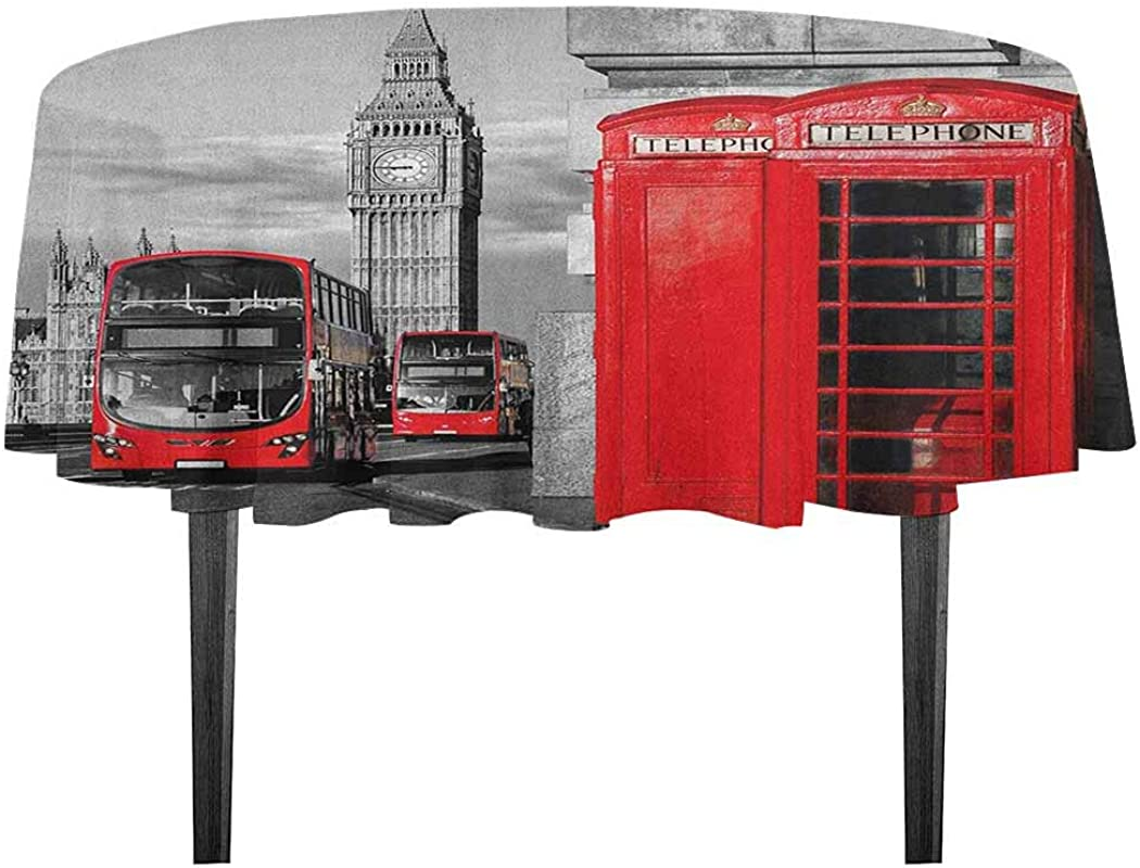 Kangkaishi London Detachable Washable Tablecloth London Telephone Booth In The Street Traditional Local Cultural Icon England UK Retro Great For Parties Festivals Etc D55 11 Inch Red Grey