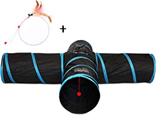 Feline Ruff Premium 4 Way Cat Tunnel. Extra Large 12 Inch Diameter and Extra Long. A Big Collapsible Play Toy. Wide Pet Tunnel Tube for Rabbits,  Kittens,  Large Cats,  and Dogs.