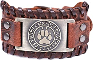 HAQUIL Viking Jewelry Viking Amulet Brown Leather Wristband Bracelet for Men