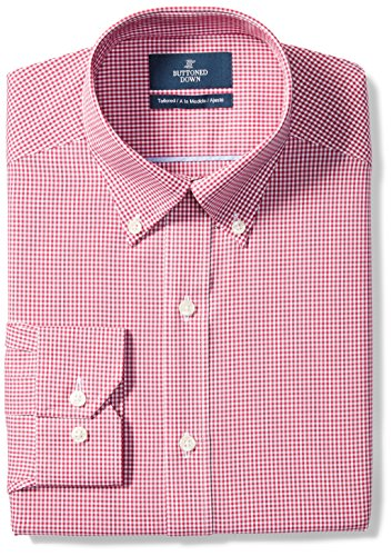 """BUTTONED DOWN Men's Tailored Fit Button-Collar Pattern Non-Iron Dress Shirt, Burgundy Gingham, 17.5"""" Neck 36"""" Sleeve"""