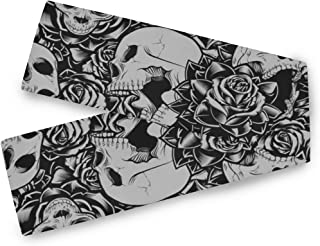 AUUXVA SEULIFE Polyester Long Table Runner 13x70 Inch, Floral Flower Rose Skull Halloween Table Cloth Runner Coffee Mat for Dining Wedding Party Holiday Home Decoration