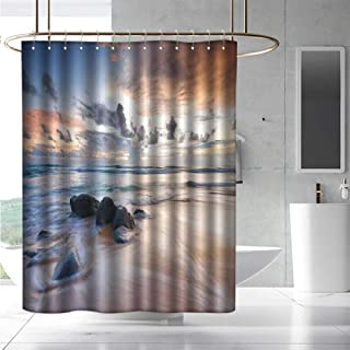 Shower Curtain Coastal Decor Rocky Coastline Last Sunlights of The Day Coloring The Clouds Landscape Picture Waterproof Colorful Funny W36 x L72