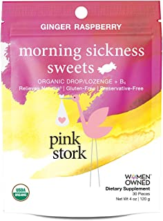 Pink Stork Morning Sickness Sweets: Ginger Raspberry Nausea Relief Hard Candy, USDA Organic + Vitamin B6, Women-Owned, 30 Hard Lozenges