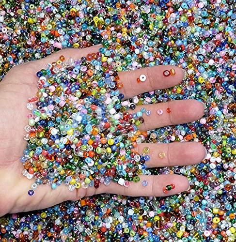 Assorted Loose Beads, Craft, Bracelet DIY, Beading Kit, Multi Colored Bulk Lot of 4mm 6/0 Seed Beads, Jewelry Making Kit (3/4 Pounds of Assorted Beads)