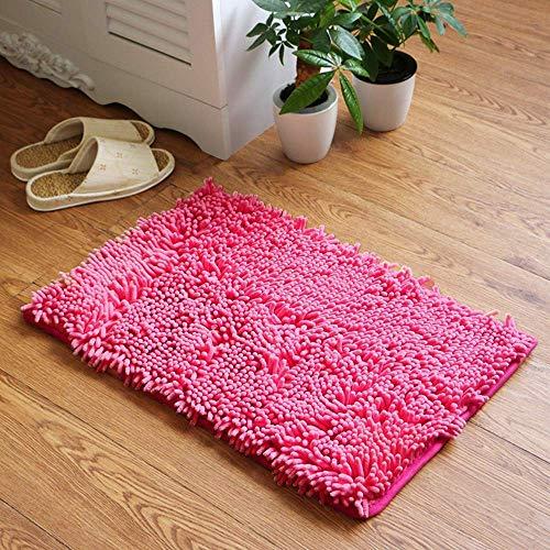 YIQI Alfombra de baño de Felpa de Microfibra de Chenilla, Suave y acogedora, Agua súper Absorbente, Antideslizante, Gruesa para Dormitorio de baño (60x40 cm, Rosa roja)