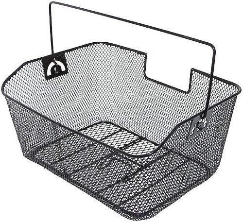 P4B   Hinterradkörbe für Fahrräder   Comfort   Engmaschiges Stahlgeflecht   Mit Bügel und Kunststoff-Griffschutz   Zum Einhängen am Gepäckträger   in 3 Farben (B) Schwarz ohne Logo