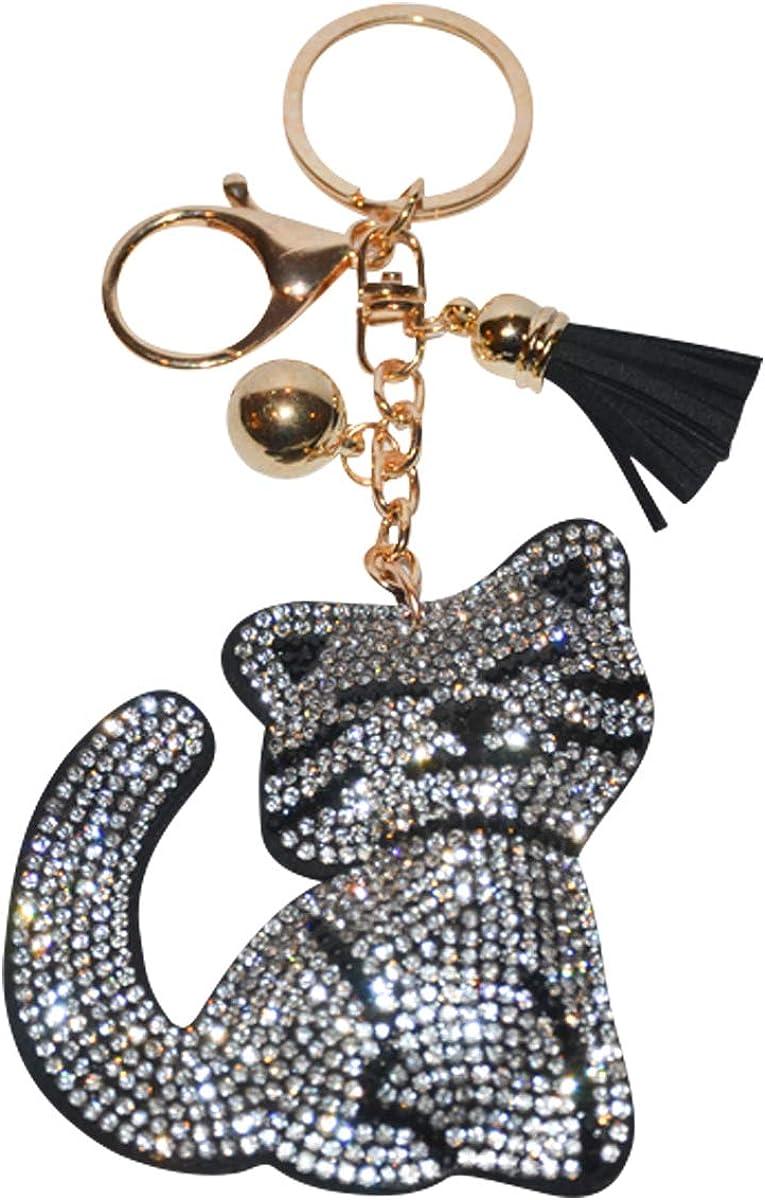 Bling Cat Keychain Bedazzled Kitty Kat Backpack Charm Crystal Bag Charms Shiny Key Fob Sparkle Keyring Handbag Pendant