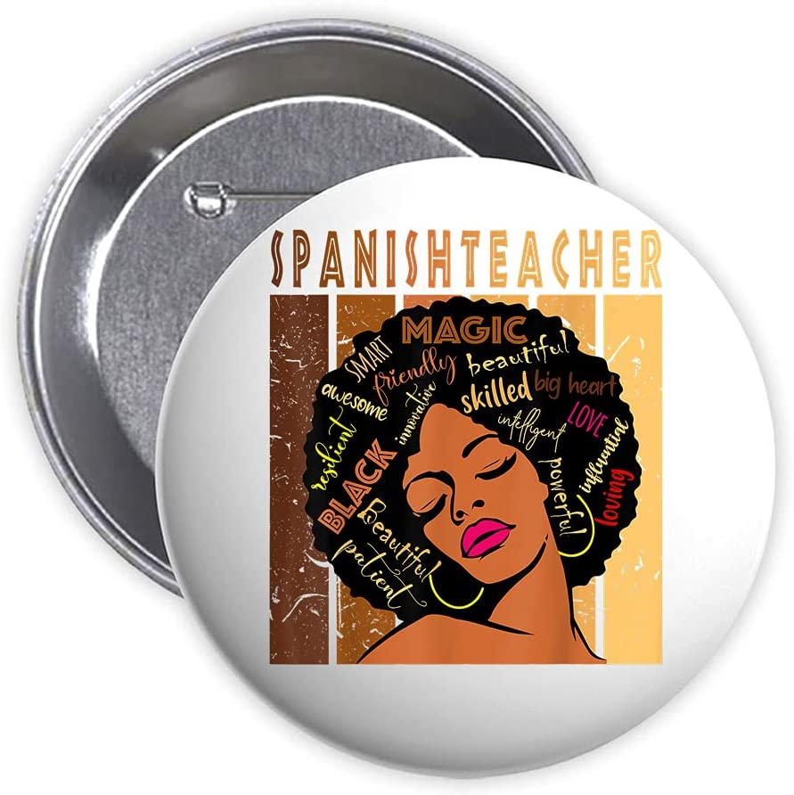 Black Spanish Teacher Very popular! Afro African American Button Pin Woman Bes Bombing new work