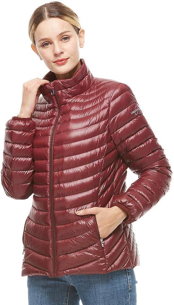 universo Women's Down Jacket Lightweight Packable Puffer Down Coats Winter Outerwear(Burgundy,XL)