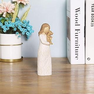 BJSM Dog Angel Figurines of Friendship, 6 Inch Hand Painted Pet Memorial Figure - Pet Lost Sympathy Gift