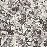 Papier peint exotique vintage | Papier peint gris et blanc 37216-3 | Papier peint oiseaux de paradis tropical | Papier peint grosses fleurs