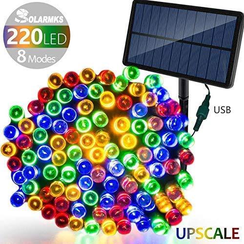 Knoijijuo Leggiadramente Solare luci di Natale, 23,5, 220 LED 8 modalità, con USB di Ricarica luci di Natale Impermeabili con sensore di Luce, di Natale per Il Partito, casa