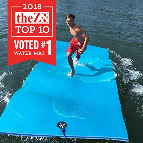 FloatDaddy 3-Ply Foam Lake Swim Mat Super Island | 6 x 16 | Cyan/Blue