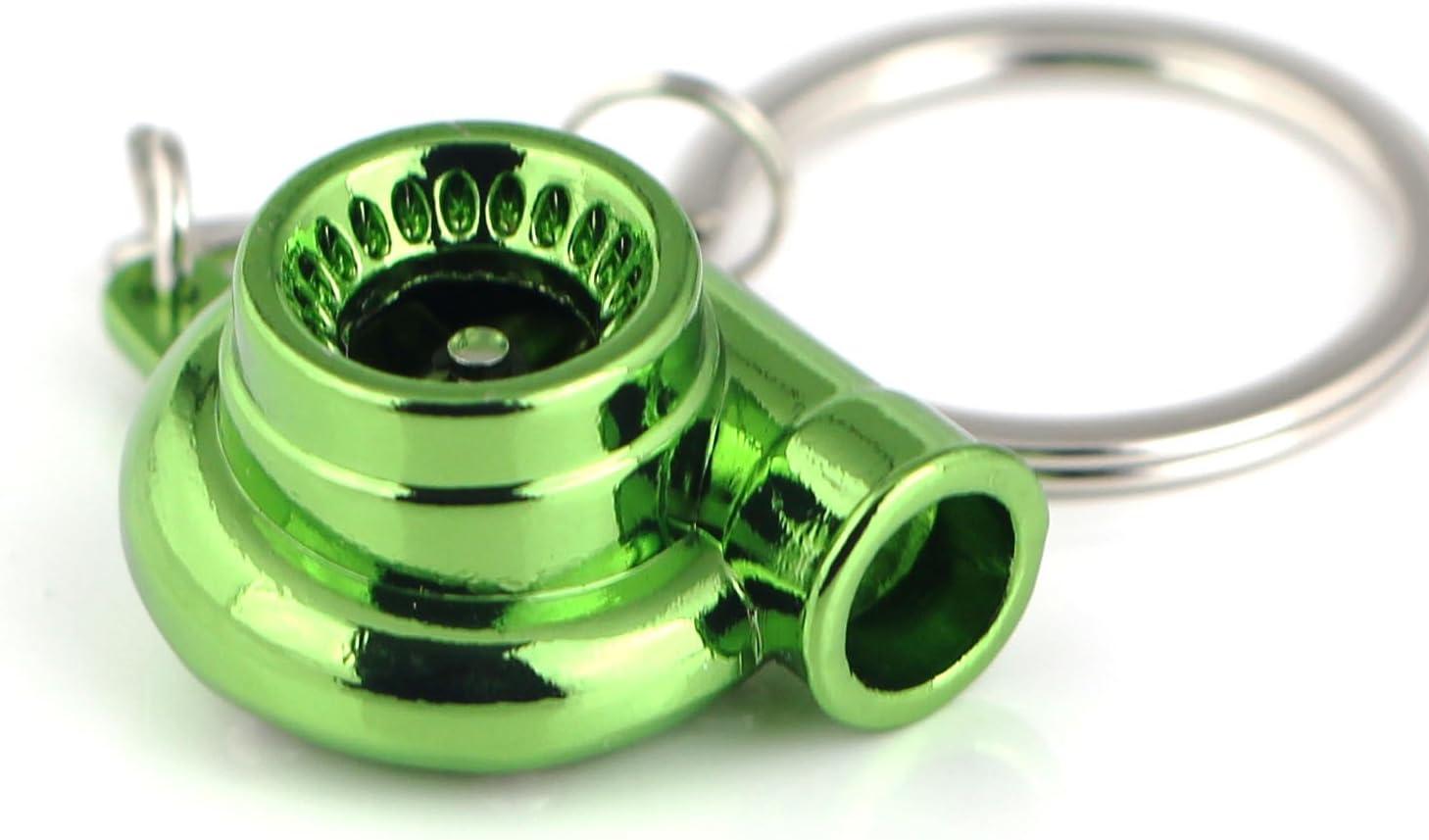Maycom Creative Spinning New Turbo Turbocharger Keychain Key Chain Ring Keyring Keyfob (Anodized Green)