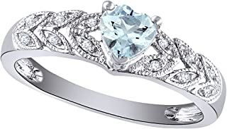 Wishrocks Simulated Heart Cut Aquamarine & 1/20 CT Diamond Leaf Shank Promise Ring in 14k Gold Over Sterling Silver