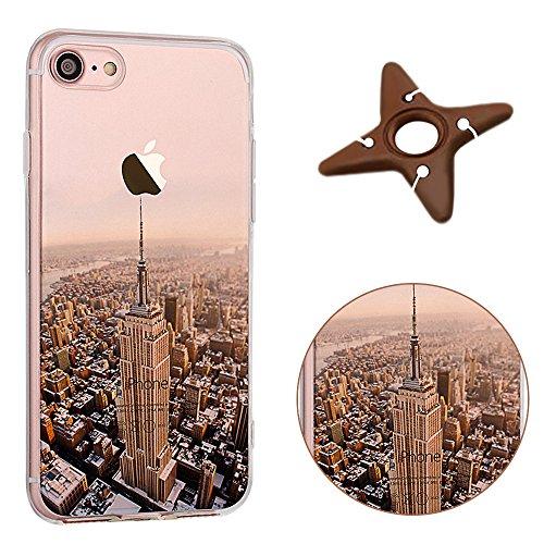 MAOOY iPhone 7 Cover, Bellissimo Paesaggio Modello Design Case per iPhone 7, Flessibile Ultra Sottile Leggero Copertura di Soft Gomma Gel Antiurto per iPhone 7, Empire State Building