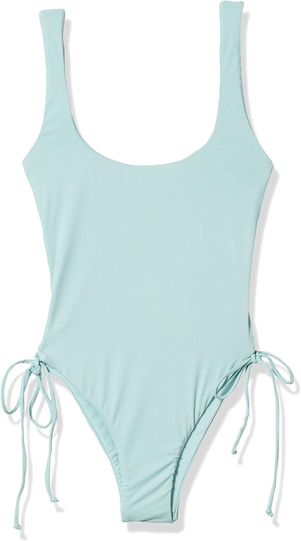 Bikini Lab Womens Lace Up Adjustable Side Tie High Leg One Piece Swimsuit Small Blue////Heavy Petal