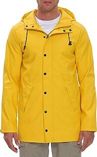Fahsyee Rain Jacket Men, Waterproof Rain Coat Hooded Riancoat Windproof Mesh Linning Trench Outdoor Windbreaker