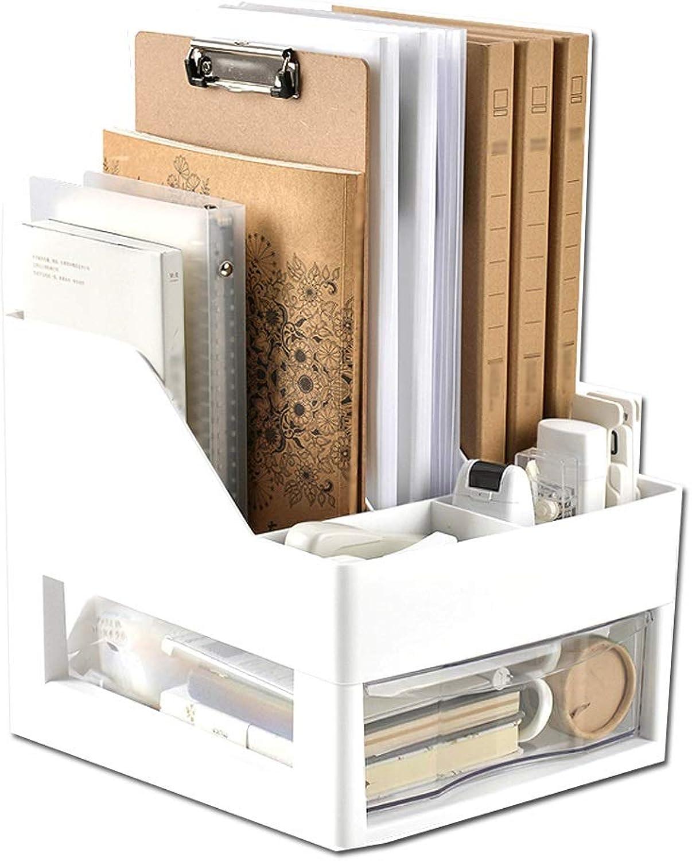 Desktop Creative Bookshelf, File Storage Price, Desktop Storage Shelf, Multi-Layer Drawer (color   White)