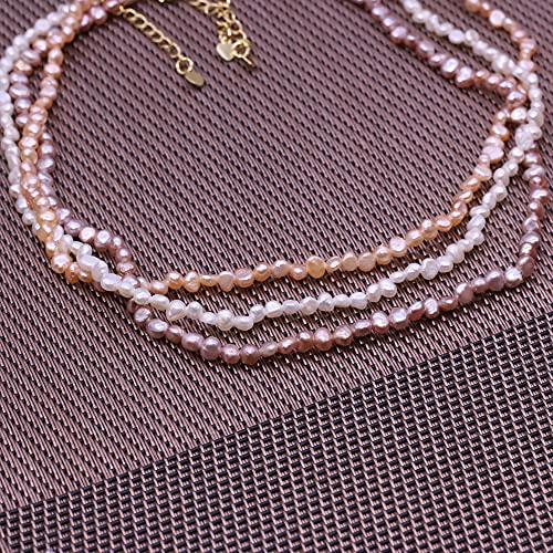 MIKUAB collarGargantilla de Perlas de Agua Dulce Naturales, Collar Barroco Joyas de Perlas para Mujeres Boda de Cobre Cierre de Collares de Cadena de Regalo Venta al por Mayor