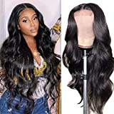 Lace Front Wigs Human Hair 4x4 Body Wave Human Hair Lace Front Wigs For Black Women 150% Density Pre Plucked Human Hair Wigs with Baby Hair(22 Inch, Body Closure Wig)