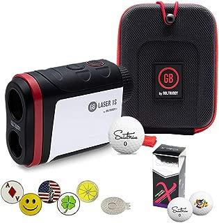 GolfBuddy Laser 1S Golf Laser Rangefinder Bundle with 5 Ball Markers, 1 Magnetic Hat Clip and Saintnine 2 Ball Sleeve