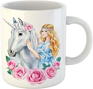 Emvency 11 Ounces Coffee Mug Blue Crown Unicorn and Princess Flower in Wreath Girl Golden Hair Horse Cinderella Watercolor Clipart Roses White Ceramic Glossy Tea Cup gift