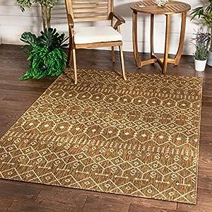 Well Woven Nors Brown Indoor/Outdoor Flat Weave Pile Nordic Lattice Pattern Area Rug 5×7 (5'3″ x 7'3″)