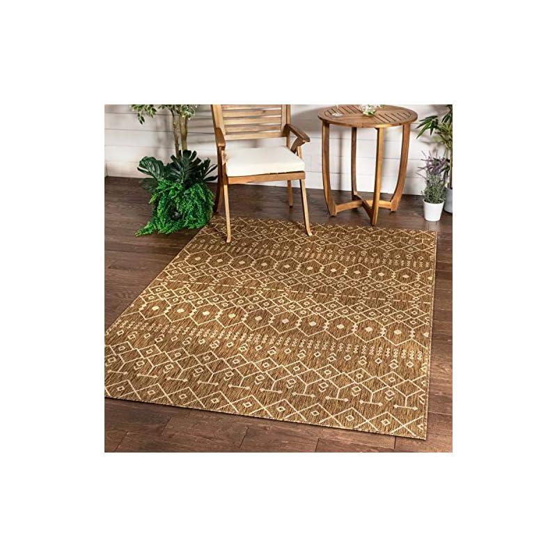 """silk flower arrangements well woven nors brown indoor/outdoor flat weave pile nordic lattice pattern area rug 5x7 (5'3"""" x 7'3"""")"""