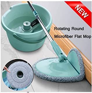 360°Rotating Head Floor Mop Head,Rotating Mop Bucket,Round Microfiber Flat Mop,2X mop Head
